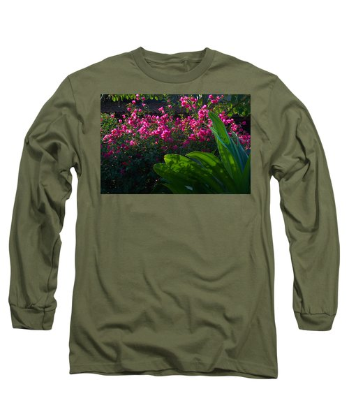 Long Sleeve T-Shirt featuring the photograph Pink And Green by Jim Walls PhotoArtist