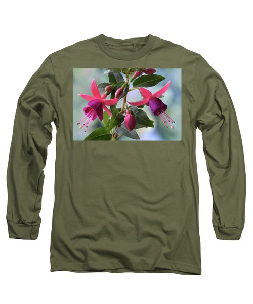 Long Sleeve T-Shirt featuring the photograph Pink And Purple Fuchsia by Terence Davis