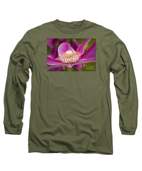 Long Sleeve T-Shirt featuring the photograph Pink Clematis Flower by Alana Ranney