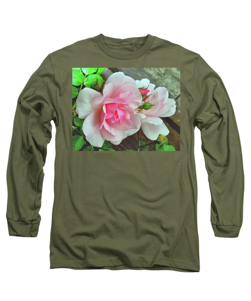 Long Sleeve T-Shirt featuring the photograph Pink Cluster Of Roses by Janette Boyd