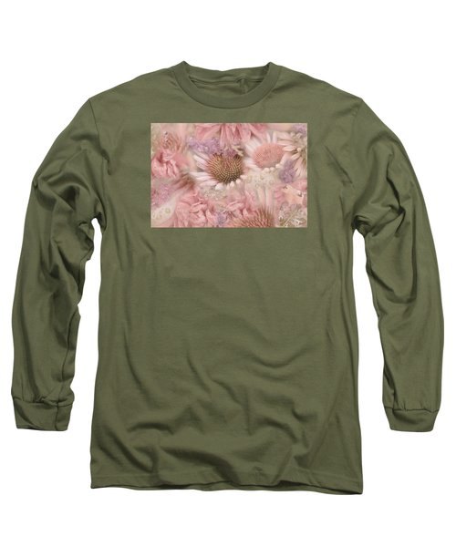 Pink Floral Montage Long Sleeve T-Shirt by Bonnie Bruno