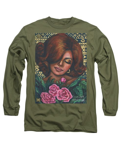 Long Sleeve T-Shirt featuring the painting Pink Flowers by Alga Washington
