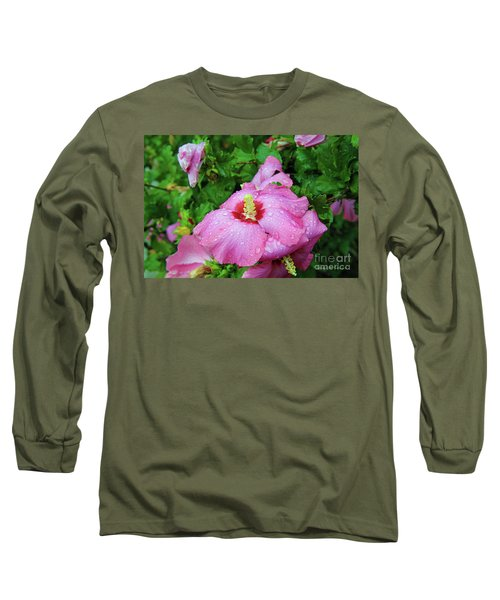 Pink Hibiscus After Rain Long Sleeve T-Shirt by Inspirational Photo Creations Audrey Woods