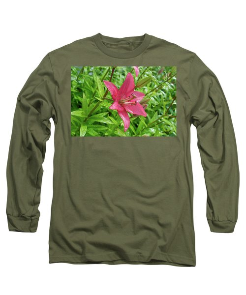 Pink Lily Flowers By Tamara Sushko  Long Sleeve T-Shirt