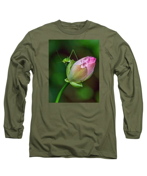 Long Sleeve T-Shirt featuring the photograph Pink  Lotus With Company by Susi Stroud