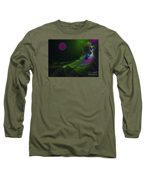 Long Sleeve T-Shirt featuring the digital art Pink Moon by Karin Kuhlmann