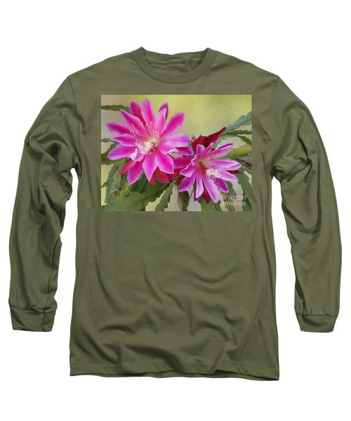 Pink Epiphyllum Lily Long Sleeve T-Shirt by Myrna Bradshaw