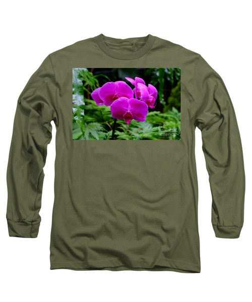 Pink Orchids Long Sleeve T-Shirt by Mini Arora
