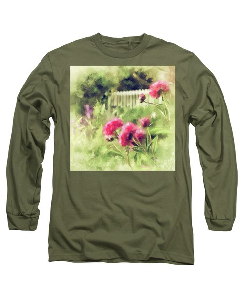 Long Sleeve T-Shirt featuring the digital art Pink Peonies In A Vintage Garden by Lois Bryan