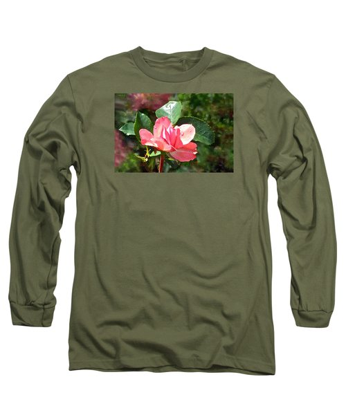 Pink Roses In The Rain 2 Long Sleeve T-Shirt by Janis Nussbaum Senungetuk