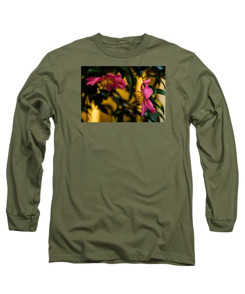 Pink Sasanquas  Long Sleeve T-Shirt by John Harding