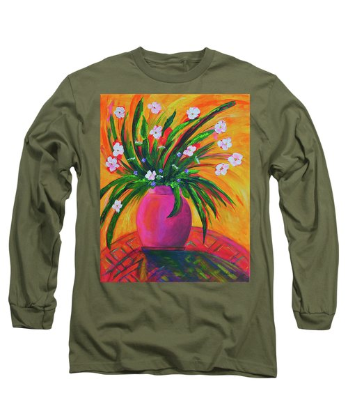 Pink Vase In Warm Afternoon Long Sleeve T-Shirt