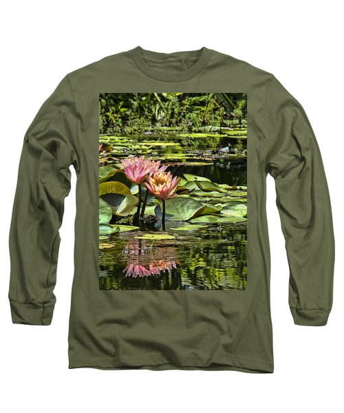 Pink Water Lily Reflections Long Sleeve T-Shirt by Bill Barber