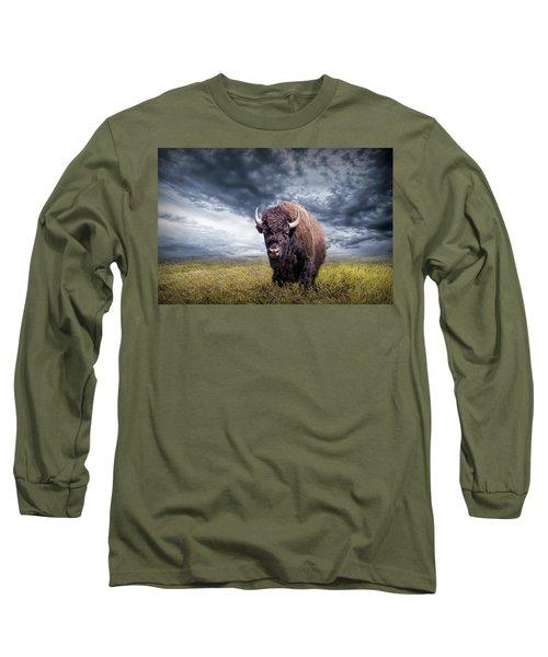 Plains Buffalo On The Prairie Long Sleeve T-Shirt