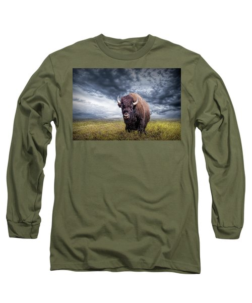 Plains Buffalo On The Prairie Long Sleeve T-Shirt