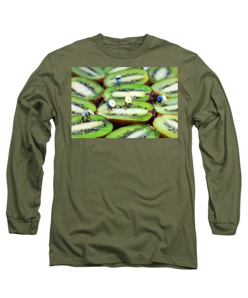 Planting Rice On Kiwifruit Long Sleeve T-Shirt by Paul Ge