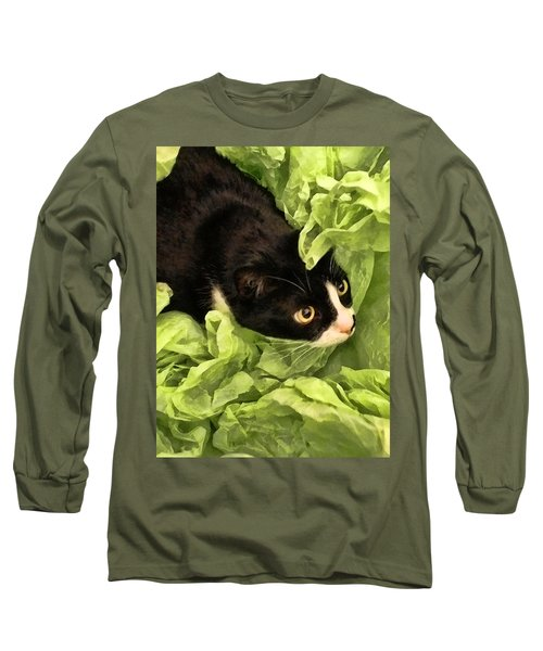 Playful Tuxedo Kitty In Green Tissue Paper Long Sleeve T-Shirt