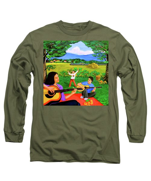 Playing Melodies Under The Shade Of Trees Long Sleeve T-Shirt by Lorna Maza