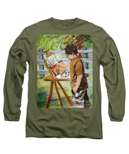 Long Sleeve T-Shirt featuring the painting Plein-air Painter Boy by Gretchen Allen