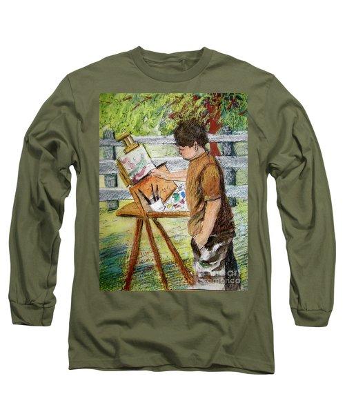 Plein-air Painter Boy Long Sleeve T-Shirt by Gretchen Allen