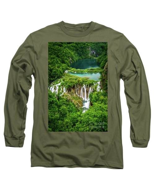 Plitvice Lakes National Park - A Heavenly Crystal Clear Waterfall Vista, Croatia Long Sleeve T-Shirt