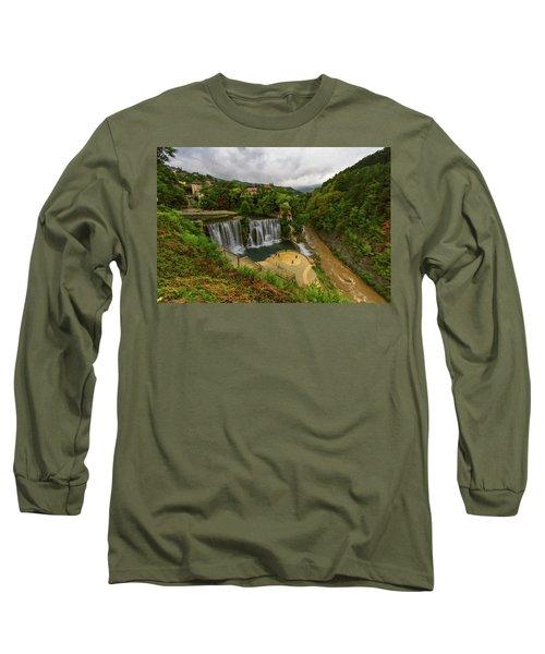 Pliva Waterfall, Jajce, Bosnia And Herzegovina Long Sleeve T-Shirt