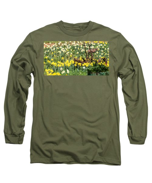 Plow In Field Of Daffodils Long Sleeve T-Shirt