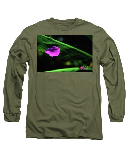 Plumeria Flower Petal On Plumeria Leaf- Kauai- Hawaii Long Sleeve T-Shirt