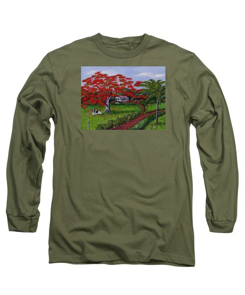 Poinciana Blvd Long Sleeve T-Shirt by Luis F Rodriguez