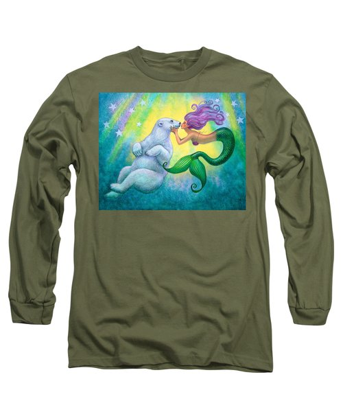 Long Sleeve T-Shirt featuring the painting Polar Bear Kiss by Sue Halstenberg