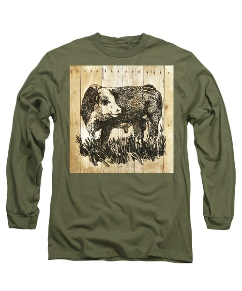 Polled Hereford Bull 11 Long Sleeve T-Shirt by Larry Campbell