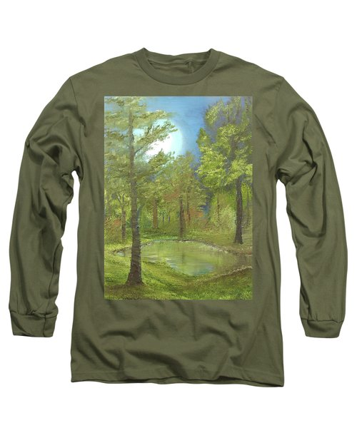 Long Sleeve T-Shirt featuring the mixed media Pond by Angela Stout