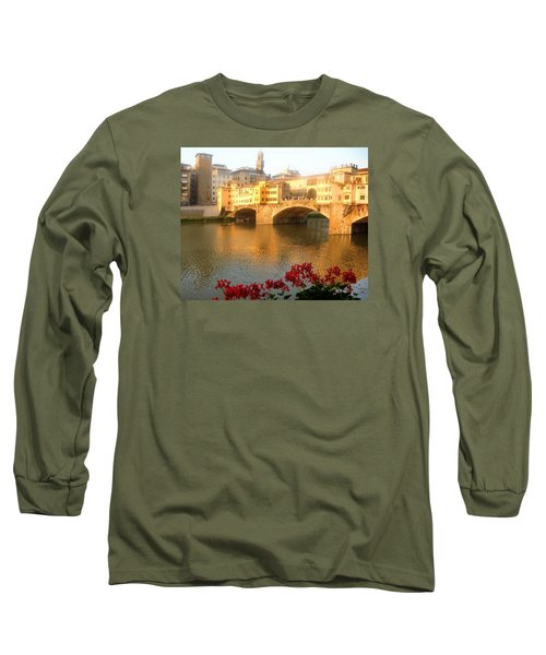 Ponte Vecchio In Florence Long Sleeve T-Shirt by Lisa Boyd
