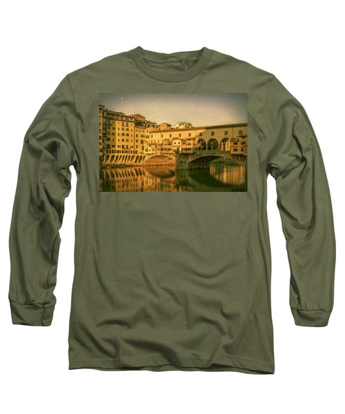 Long Sleeve T-Shirt featuring the photograph Ponte Vecchio Morning Florence Italy by Joan Carroll