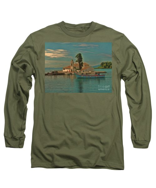 Long Sleeve T-Shirt featuring the photograph Pontikonisi Corfu by Leigh Kemp