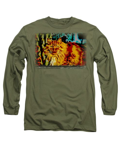 Pop Art Orange Tabby Cat Long Sleeve T-Shirt