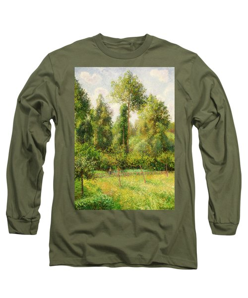 Long Sleeve T-Shirt featuring the painting Poplars - Eragny by Camille Pissaro