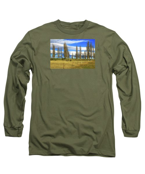 Poplars,fence And Grasses Long Sleeve T-Shirt