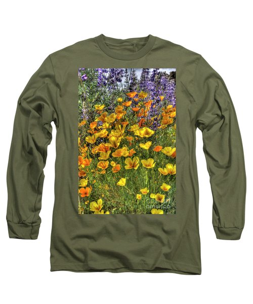 Long Sleeve T-Shirt featuring the photograph Poppies And Lupines by Jim and Emily Bush