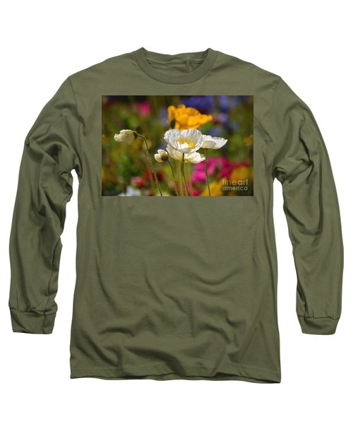 Poppies In The Spring Long Sleeve T-Shirt by Deb Halloran