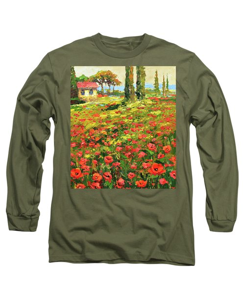 Poppies Near The Village Long Sleeve T-Shirt by Dmitry Spiros