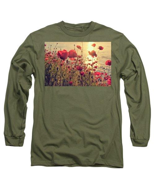 Poppy Flowers At Sunset Long Sleeve T-Shirt
