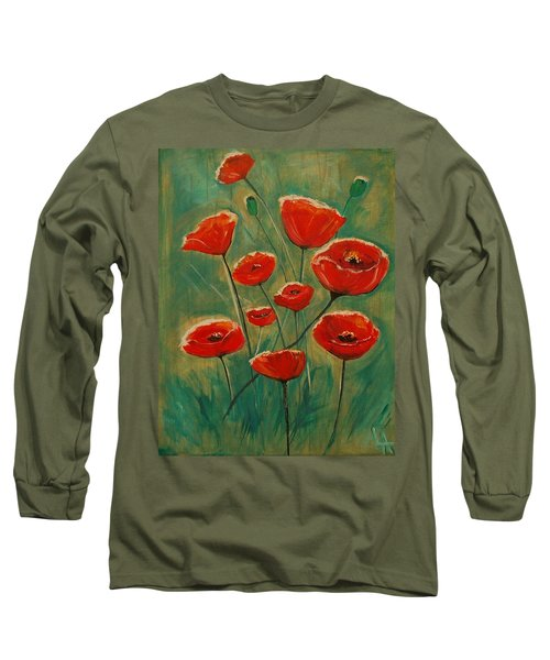 Long Sleeve T-Shirt featuring the painting Poppy Surprise by Leslie Allen