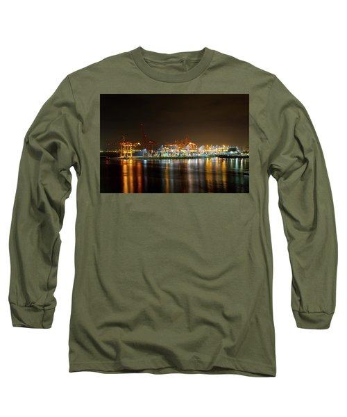 Port Of Vancouver Bc At Night Long Sleeve T-Shirt