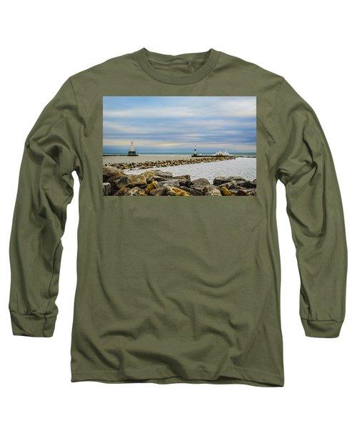 Long Sleeve T-Shirt featuring the photograph Port Washington Light 5 by Deborah Smolinske