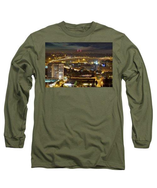 Portland Fremont Bridge Light Trails At Night Long Sleeve T-Shirt