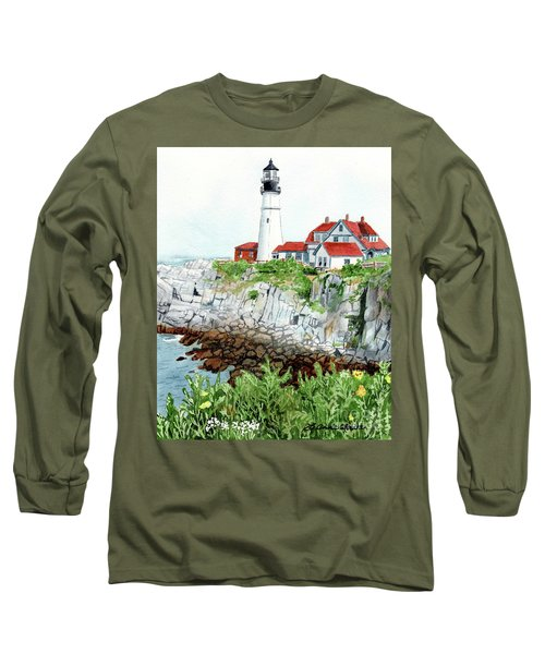 Portland Head Light, Lighthouse Painting, Lighthouse Print, Maine Lighthouse, Long Sleeve T-Shirt