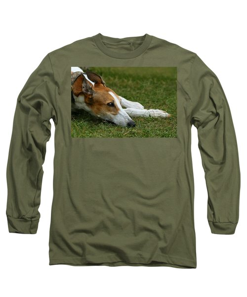 Portrait Of A Greyhound - Soulful Long Sleeve T-Shirt by Angela Rath