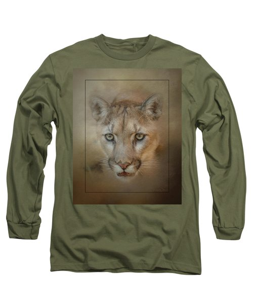 Portrait Of A Mountain Lion Long Sleeve T-Shirt