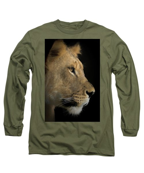 Long Sleeve T-Shirt featuring the digital art Portrait Of A Young Lion by Ernie Echols